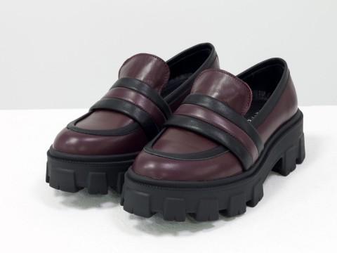 Женские  туфли на тракторной подошве из натуральной бордовой кожи с вставками черной кожи, Т-2052-03