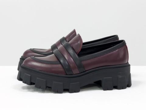 Женские туфли на тракторной подошве из натуральной кожи бордового цвета, Т-2052-03