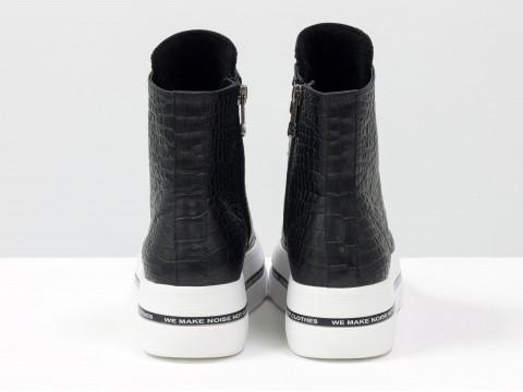 """Женские ботинки на толстой подошве из натуральной кожи текстуры """"крокодил"""" черного цвета с белым носиком, Б-2055-01"""