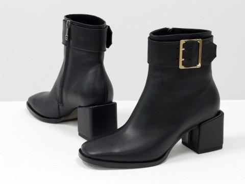 Женские  ботинки из натуральной черной кожи на квадратном каблуке, Б-2061-01