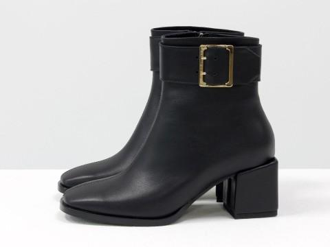 Женские классические ботинки черного цвета из натуральной кожи, Б-2061-01