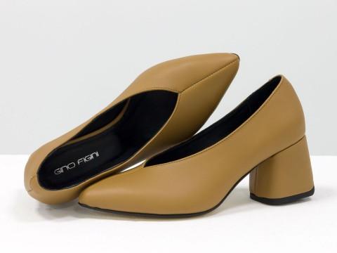 Дизайнерские туфли-перчатки на невысоком обтяжном каблуке из натуральной итальянской кожи цвета табак,  Т-2050-05