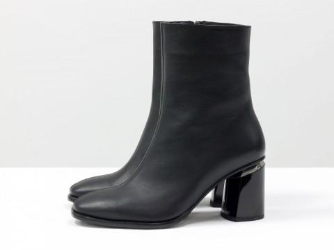 Классические черные ботильоны из натуральной кожи на каблуке