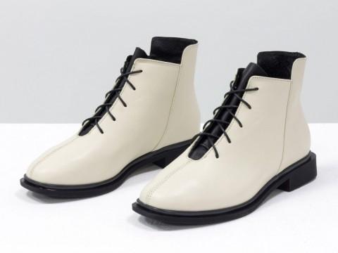 Женские ботинки с квадратным носком из натуральной матовой кожи молочного цвета