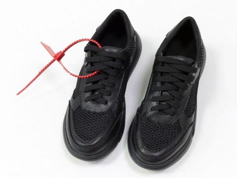 Черные женские кроссовки из натуральной кожи c вставками из сетки на утолщенной подошве, Т-2017-05
