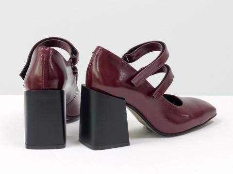 Дизайнерские туфли из натуральной лаковой кожи на устойчивом квадратном каблуке,  Т-2049-01