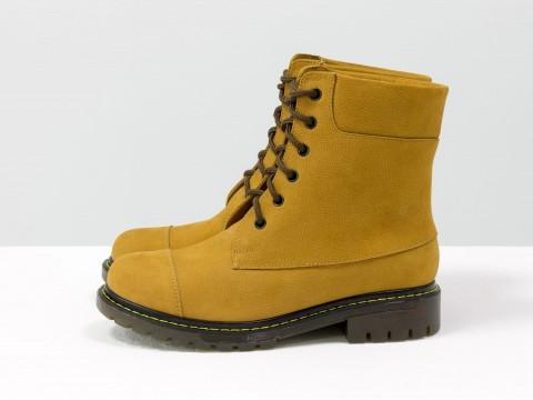 """Классические женские ботинки из рыжего нубука в стиле """"тимберлэнд"""", Б-16081-23"""