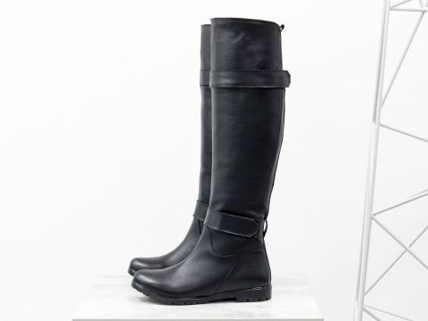 Сапоги - ботфорты из черной кожи на низком ходу, М-16079-01