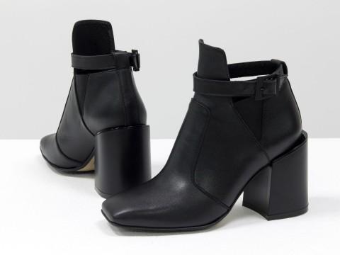 Женские  ботинки из натуральной черной кожи с пряжкой на устойчивом каблуке, Б-20100-01