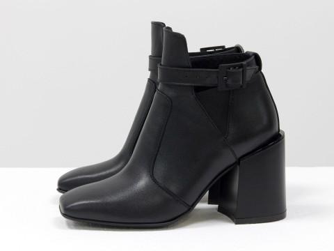 Женские классические ботинки черного цвета из натуральной кожи на устойчивом каблуке, Б-20100-01