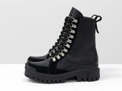 Высокие ботинки из натуральной черной кожи и замши на тракторной подошве, Б-2088-01