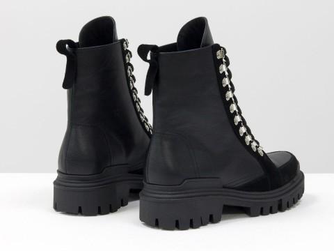 Женские  ботинки  из натуральной кожи черного цвета с вставками из замши на шнуровке, Б-2088-01
