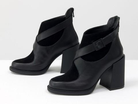 Женские  ботинки из натуральной черной кожи и замши с пряжкой на устойчивом каблуке, Б-2099-01