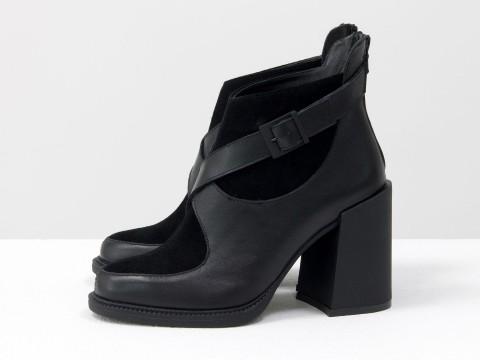 Женские классические ботинки черного цвета из натуральной кожи с замшей на устойчивом каблуке, Б-2099-01