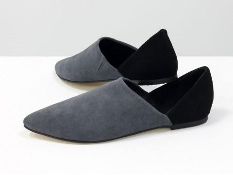 Женские серые туфли из натуральной замши на низком ходу, Д-28-03