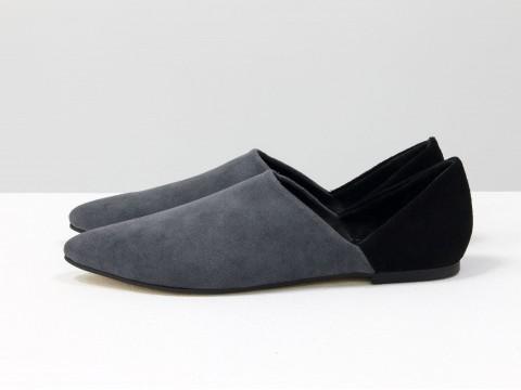 Женские серые туфли из замши с черным задником на низком ходу, Д-28-03