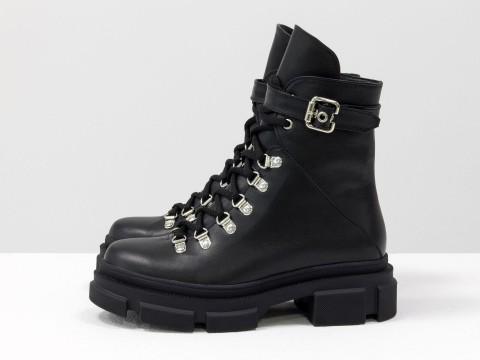 Женские  ботинки из натуральной кожи на тракторной подошве, Б-2065-02