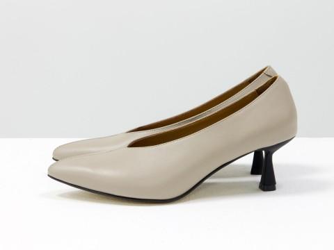 """Дизайнерские туфли-перчатки на невысоком каблуке """"рюмочка"""" из натуральной итальянской кожи бежевого цвета,  Т-2050-18"""