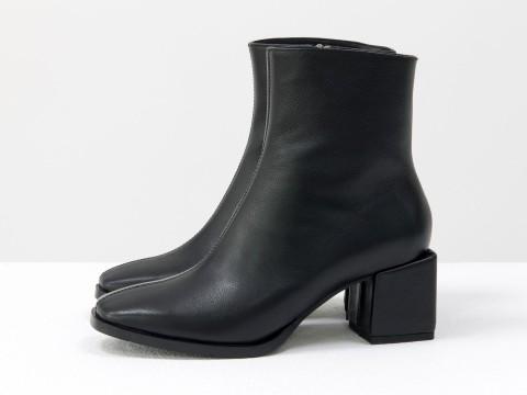 Женские классические ботинки черного цвета из натуральной кожи, Б-2061-02