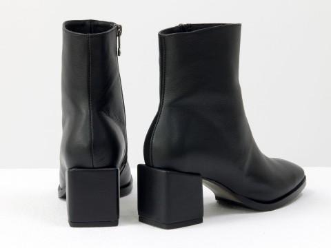 Женские  ботинки из натуральной черной кожи на квадратном каблуке, Б-2061-02