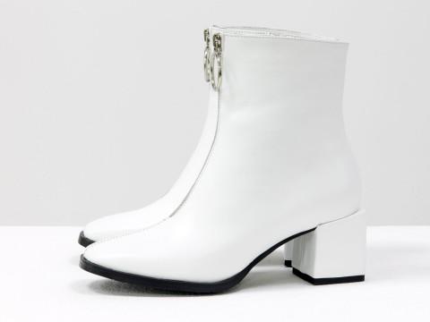 Женские классические ботинки белого цвета из натуральной кожи, Б-2077-02