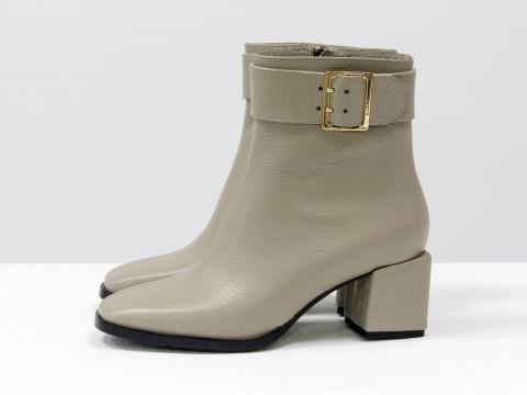 Женские классические ботинки серо-бежевого цвета из натуральной кожи, Б-2061-03