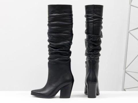 Дизайнерские базовые сапоги черного цвета из натуральной кожи на высоком каблуке, М-20102-01
