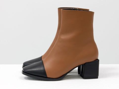 Женские классические ботинки сочетания рыжей и черной натуральной кожи,  Б-2086-02