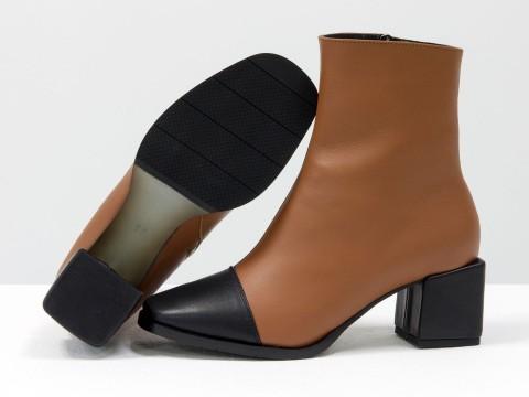Женские  ботинки из натуральной рыжей кожи  с черным носиком на квадратном каблуке, Б-2086-02