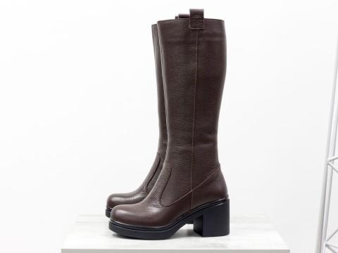 Сапоги  из натуральной кожи-флотар коричневого цвета,  М-16072-02