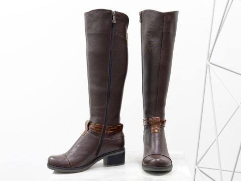 Сапоги женские коричневые из натуральной кожи флотар, М-101-02
