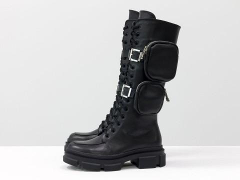 Женские спортивные ботинки из черной кожи на модной подошве и шнуровке с карманами, Б-2085-01