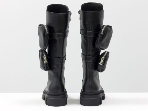 Женские спортивные ботинки из натуральной черной кожи на шнуровке с карманами сбоку, Б-2085-01