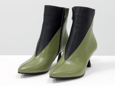 Элегантные черно-оливковые  ботильоны из натуральной мягкой итальянской  кожи на невысоком каблуке, Б-2073-01