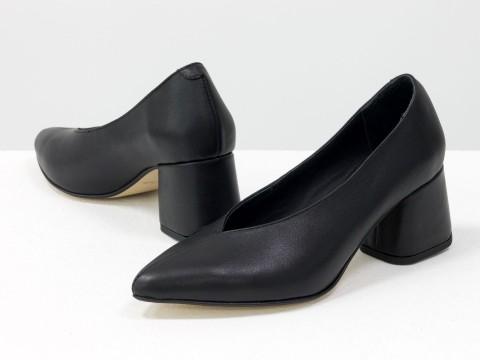 Дизайнерские туфли-перчатки на невысоком обтяжном каблуке из натуральной итальянской кожи черного цвета,  Т-2050-12