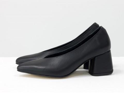 Дизайнерские туфли-перчатки на невысоком обтяжном каблуке из натуральной итальянской кожи черного цвета на черной подошве,  Т-2050-12