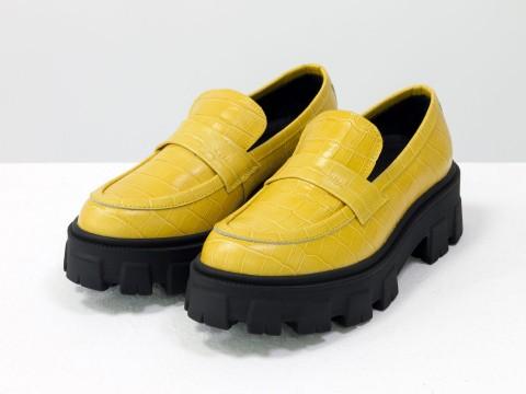 Женские  туфли на тракторной подошве из натуральной желтой кожи, Т-2052-04