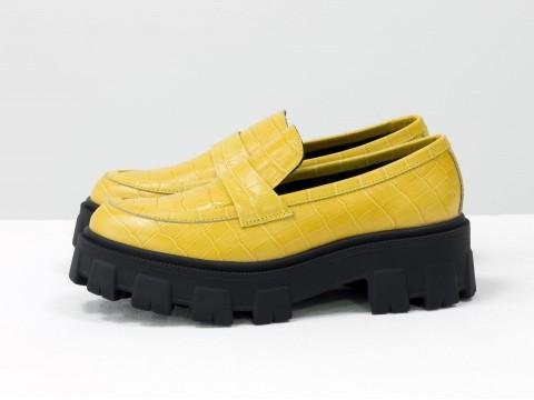 Женские туфли на тракторной подошве из натуральной кожи желтого цвета, Т-2052-04