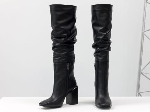 Осенние сапоги черного цвета из натуральной кожи  на устойчивом каблуке, М-2089-01