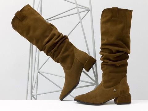 Осенние сапоги светло-коричневого цвета из натуральной замши на маленьком каблуке, М-2083-01