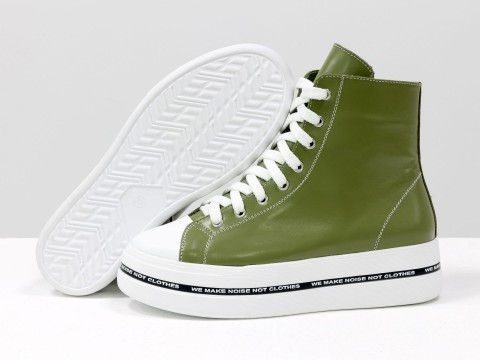 Женские ботинки на толстой подошве из натуральной кожи оливкового цвета с белым носиком, Б-2055-01