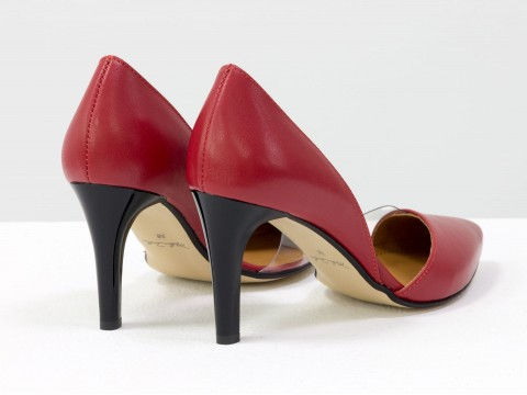 Туфли лодочки из натуральной кожи красного цвета с вставками из силикона на высокой шпильке, Т-1928-05