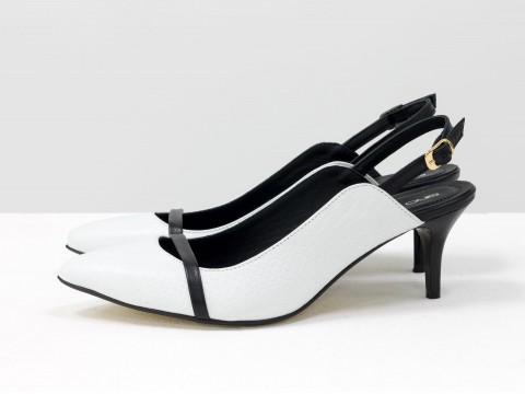 Женские туфли с открытой пяткой черно-белого цвета на маленькой шпильке ,С-1907-03