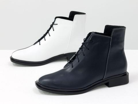 Классические дизайнерские ботинки из матовой кожи на квадратном каблуке, Б-19142-15
