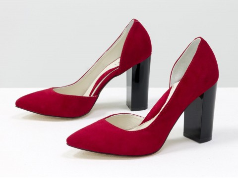 Замшевые туфли яркого красного цвета на глянцевом каблуке, Т-1701/1-01