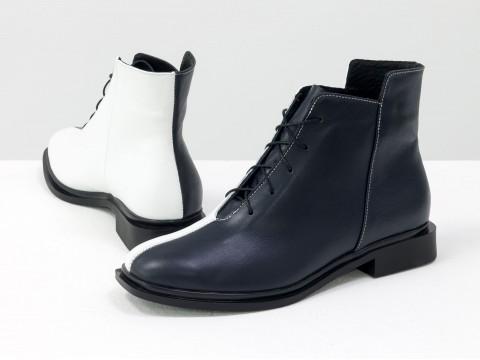 Дизайнерские ботинки из натуральной матовой кожи черно-белого цвета, Б-19142-15
