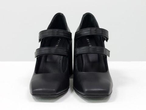 Дизайнерские туфли из натуральной черной кожи на устойчивом квадратном каблуке,  Т-2049-03