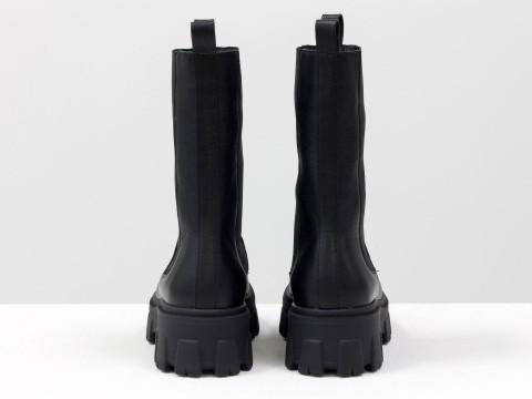 """Завышенные черные ботинки """"челси"""" из натуральной  кожи, Б-2078-01"""