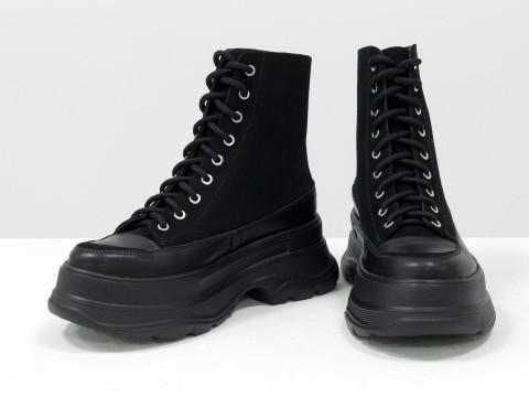 Женские спортивные ботинки  из натуральной кожи черного цвета  с вставками из замши на шнуровке, Б-2072-01