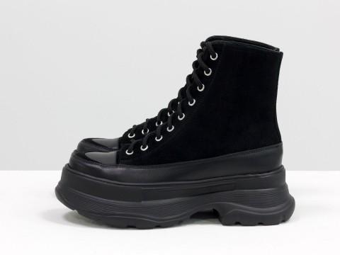 Женские черные  ботинки из натуральной кожи  и замши на тракторной подошве, Б-2072-01